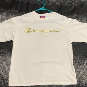 Men's White and Gold Champion Shirt